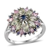 Green, Pink and Kanchanaburi Blue Sapphire Platinum Over Sterling Silver Ring (Size 6) TGW 3.680 cts.