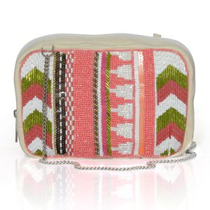 Beige Shoulder Bag with Coral Seed Bead (7x2.5x4 in)