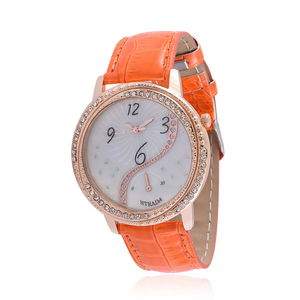 STRADA Austrian Crystal Japanese Movement Watch with Orange Band and Stainless Steel Back