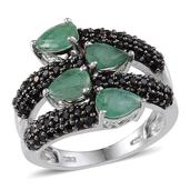 Kagem Zambian Emerald, Thai Black Spinel Platinum Over Sterling Silver Bypass Ring (Size 5.0) TGW 5.10 cts.