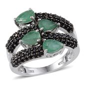 Kagem Zambian Emerald, Thai Black Spinel Platinum Over Sterling Silver Bypass Ring (Size 7.0) TGW 5.10 cts.