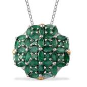 Kagem Zambian Emerald 14K YG and Platinum Over Sterling Silver Pendant With Chain (20 in) TGW 6.45 Cts.