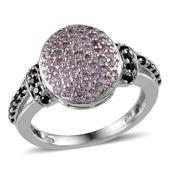 Madagascar Pink Sapphire, Thai Black Spinel Platinum Over Sterling Silver Ring (Size 6.0) TGW 1.420 cts.
