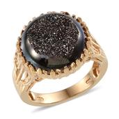 Black Drusy Quartz 14K YG Over Sterling Silver Ring (Size 9.0) TGW 12.350 cts.
