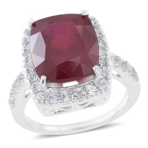 Niassa Ruby, White Topaz Sterling Silver Stunning Ring (Size 9.0) TGW 15.50 cts.