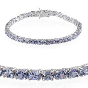 Bondi Blue Tanzanite Platinum Over Sterling Silver Bracelet (8.00 In) TGW 13.650 cts.