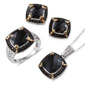 Australian Black Tourmaline, Thai Black Spinel 14K YG and Platinum Over Sterling Silver Ring (Size 6), Earrings and Pendant With Chain (20 in) TGW 24.910 cts.