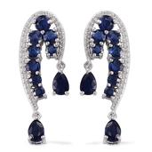 Himalayan Kyanite, White Topaz Platinum Over Sterling Silver Earrings TGW 6.26 Cts.