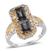 Northern Lights Mystic Topaz 14K YG and Platinum Over Sterling Silver Ring (Size 10.0) TGW 3.90 cts.