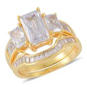ELANZA Simulated White Diamond Set of 2 Rings in 14K YG Overlay Sterling Silver Nickel Free (Size 7) TGW 5.600 cts.