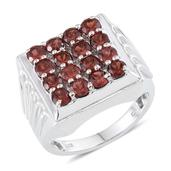 Mozambique Garnet (Rnd) Men's Ring in Platinum Overlay Sterling Silver Nickel Free (Size 10.0) TGW 5.900 cts.