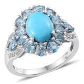 Arizona Sleeping Turquoise, Electric Blue Topaz, White Topaz Sterling Silver Ring (Size 7.0) TGW 5.440 cts.