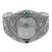 Bali Princess Collection Carved Bone, Blue Topaz, Ruby, Sri Lankan Rainbow Moonstone Sterling Silver Cuff TGW 4.37 cts.
