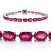 Niassa Ruby Sterling Silver Bracelet (8.00 In) TGW 23.70 cts.