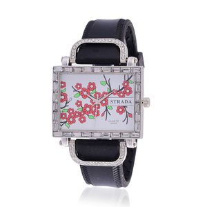 STRADA Austrian Crystal Japanese Movement Watch with Black Silicone Band and Stainless Steel Back