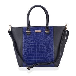 J Francis - Black and Blue Faux Leather Handbag (16x5x12 in)