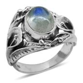 Bali Legacy Collection Sri Lankan Rainbow Moonstone (Ovl) Ring in Sterling Silver Nickel Free (Size 7) TGW 3.47 Cts.