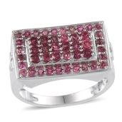 Ouro Fino Rubellite Men's Ring Platinum Over Sterling Silver (Size 11.0) Total Gem Stone Weight 3.0 Carat