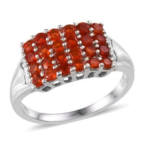 Jalisco Cherry Fire Opal (Rnd) Ring in Platinum Overlay Sterling Silver Nickel Free (Size 10) TGW 1.25 Cts.