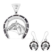 Santa Fe Style Black Onyx Sterling Silver Earrings and Pendant without Chain TGW 3.73 Cts.
