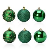 Green Hand Painted Set of 6 Ornaments (2.5 in)