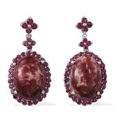 Norwegian Thulite, Orissa Rhodolite Garnet Platinum Over Sterling Silver Dangle Earrings TGW 33.55 Cts.