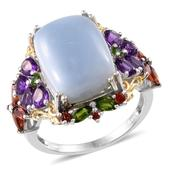 Oregon Blue Opal, Amethyst, Russian Diopside, Mozambique Garnet 14K YG and Platinum Over Sterling Silver Ring (Size 7.0) TGW 11.690 cts.