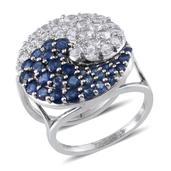 Set of 2 Kanchanaburi Blue Sapphire, White Topaz Platinum Over Sterling Silver Yin Yang Stackable Rings (Size 6.0) TGW 6.017 cts.