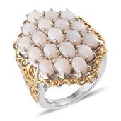 Australian White Opal 14K YG and Platinum Over Sterling Silver Cluster Ring (Size 7.0) TGW 4.750 cts.