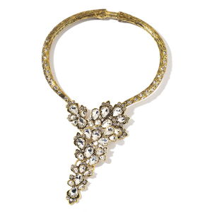 Simulated Diamond, Austrian Crystal Goldtone Statement Collar Necklace (16 in)