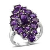 Lusaka Amethyst (Ovl 1.50 Ct) Ring in Platinum Overlay Sterling Silver Nickel Free (Size 9) TGW 7.61 Cts.