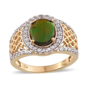 Canadian Ammolite, White Topaz 14K YG Over Sterling Silver Ring (Size 6.0) TGW 2.700 cts.