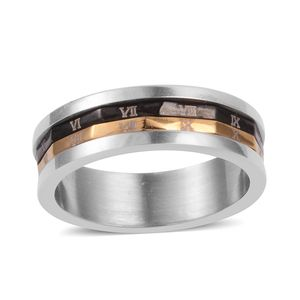 ION Plated YG, Black and Stainless Steel Roman Numerals Spinner Ring (Size 7.5)