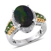 Canadian Ammolite, White Topaz, Russian Diopside 14K YG and Platinum Over Sterling Silver Ring (Size 8.0) TGW 3.790 cts.