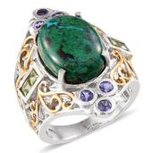 Australian Chrysocolla, Hebei Peridot, Tanzanite 14K YG and Platinum Over Sterling Silver Ring (Size 9.0) TGW 14.450 cts.