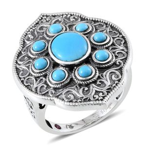 Royal Jaipur Arizona Sleeping Beauty Turquoise, Ruby Glamorous Platinum Over Sterling Silver Ring (Size 7.0) TGW 3.320 cts.