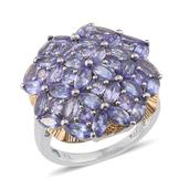 Tanzanite 14K YG and Platinum Over Sterling Silver Ring (Size 6.0) TGW 5.560 cts.