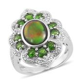 Canadian Ammolite, Russian Diopside, White Topaz Sterling Silver Ring (Size 10.0) TGW 3.605 cts.