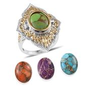 Mojave Green, Blue, Orange and Purple Turquoise 14K YG and Platinum Over Sterling Silver Interchangeable Ring (Size 6.0) TGW 32.100 cts.
