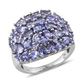Tanzanite Platinum Over Sterling Silver Cluster Ring (Size 7.0) TGW 6.23 cts.