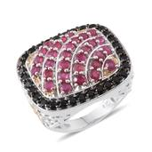 Niassa Ruby, Thai Black Spinel 14K YG and Platinum Over Sterling Silver Ring (Size 8.0) TGW 5.600 cts.