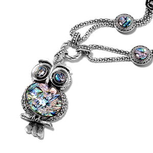 Creature Couture - Abalone Shell, Austrian Crystal Silvertone Owl Necklace (22-24 in)