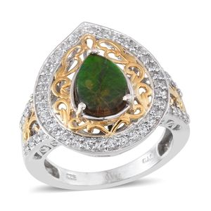 Canadian Ammolite, White Topaz 14K YG and Platinum Over Sterling Silver Ring (Size 6.0) TGW 3.150 cts.