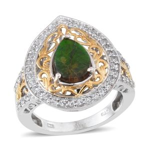 Canadian Ammolite, White Topaz 14K YG and Platinum Over Sterling Silver Ring (Size 8.0) TGW 3.15 cts.