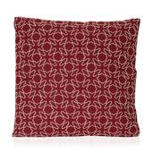 Red Cotton Rich Vermicular Embroidered Cushion (18x18 in)