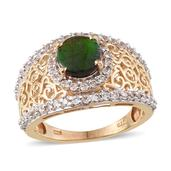 Canadian Ammolite, White Zircon 14K YG Over Sterling Silver Ring (Size 9.0) TGW 2.96 cts.