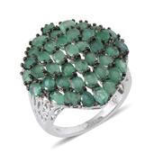 Kagem Zambian Emerald Platinum Over Sterling Silver Ring (Size 7.0) TGW 6.730 cts.