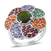 Canadian Ammolite, Kagem Zambian Emerald, Jalisco Fire Opal, Orissa Rhodolite Garnet, Tanzanite Platinum Over Sterling Silver Ring (Size 8.0) TGW 5.000 cts.