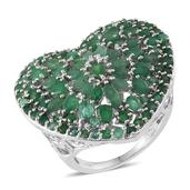 Kagem Zambian Emerald Platinum Over Sterling Silver Ring (Size 10.0) TGW 6.75 cts.
