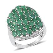 Kagem Zambian Emerald, Diamond Platinum Over Sterling Silver Cluster Ring (Size 8.0) TDiaWt 0.01 cts, TGW 5.506 cts.